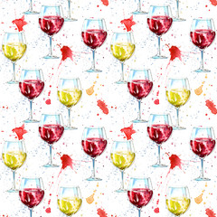 Seamless pattern of a glass red and white wine and splash. Picture of a alcoholic drink.Beverage.Watercolor hand drawn illustration.White background.