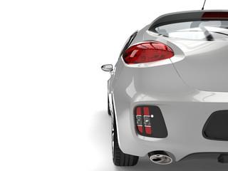 Cool silver metallic modern e-car - taillight closeup shot