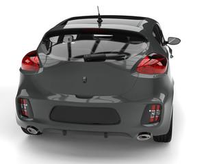 Dark gray modern e-car - tail view closeup shot
