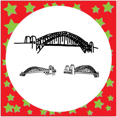 Sydney Harbour Bridge Australia hand drawn doodle sketch with black lines vector illustration isolated on white background