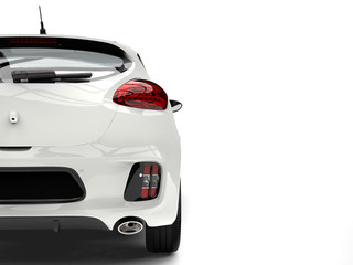 Sublime white modern electric car - tail view cut shot