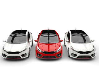 Beautiful modern rose red and clean white electric cars - top view