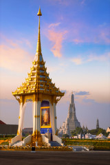The replica of royal crematorium of His Majesty late King Bhumibol Adulyadej  at  Nakaphirom Park on the opposite side of Wat Arun Temple