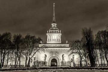 Historical Admiralty buildingl landmark Petersburg night