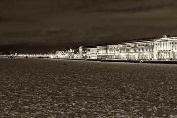 Neva embankment landmark Saint Petersburg night
