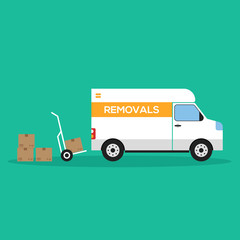 Home removal and transportation concept flat design