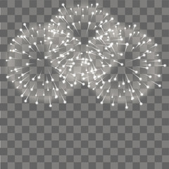 Fireworks salute on transparent background. Vector