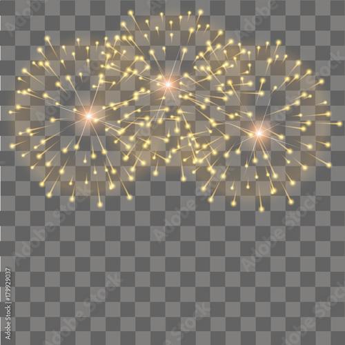 Fireworks salute on transparent background  Vector