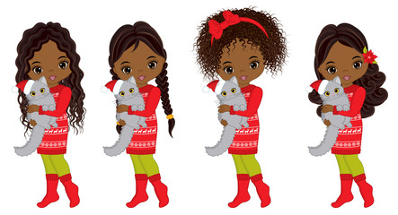 Vector Cute Little African American Girls with Cats