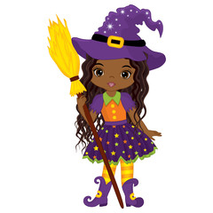 Vector Cute Little African American Witch with Broomstick