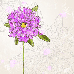 Beautiful hand drawn flower with grunge effect. EPS 10 vector illustration.