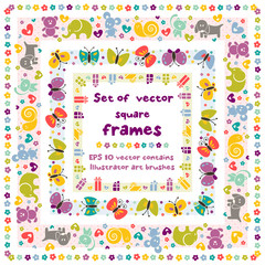 Cute square frames with baby icons for your design. EPS 8 vector contains Illustrator art brush for your design