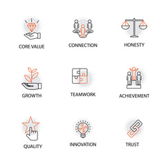 Modern Flat thin line Icon Set in Concept of Business Core Values with Word Core Value,Connection,Honesty,Growth,Teamwork,Achievement,Quality,Innovation,Trust.Editable Stroke.