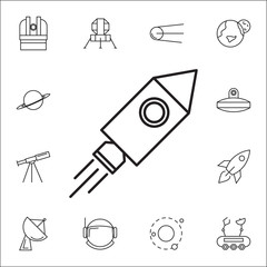 Rocket icon. Set of space icons. Signs, outline symbols collection, simple thin line icons for websites, web design, mobile app, info graphics