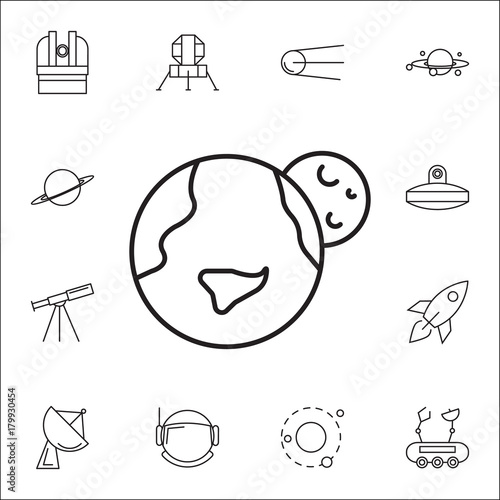 Earth And Moon Icon Set Of Space Icons Signs Outline Symbols
