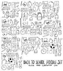 Set of School illustration Hand drawn doodle Sketch line vector eps10