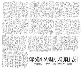 Set of Ribbon Banner illustration Hand drawn doodle Sketch line vector eps10