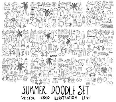 Set of Summer illustration Hand drawn doodle Sketch line vector eps10