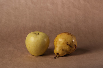 still life, apple and pear, horizontally