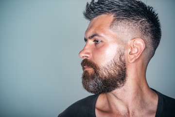 Macho with bearded face profile and stylish hair