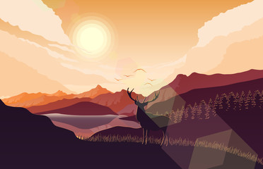 Mountains landscape with deer on the hills at sunset