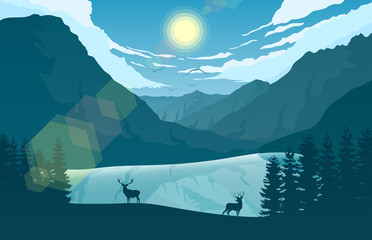 Mountain landscape with two deer in a forest near a lake