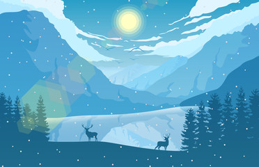 Winter mountain landscape with two deer in a forest near a lake