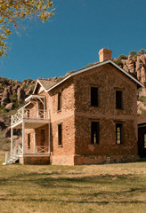 View of the ruins of one of the officer's quarters on Officer's Row, Fort Davis National Historic Site, Fort Davis, Texas.  The fort was active between 1854 and 1891.