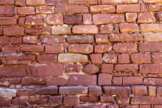 The wall of Castle of Silves from red sandstone