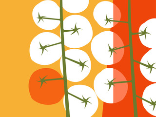 Abstract fruit and vegetable design in flat cut out style. Cherry tomatoes with negative space.. Vector illustration.