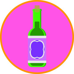 Wine bottle with cork, flat art vector style object.