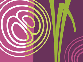 Abstract vegetable design in flat cut out style. Sliced red onion and stems. Vector illustration.