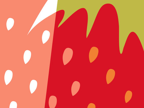 Abstract fruit design in flat cut out style. Close up strawberry and seeds. Vector illustration.