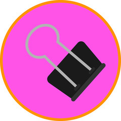 Black Clip, office and school equipment, flat art vector style object.