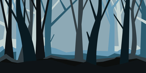 Forest without leaves in the dusk. Misty landscape. Cartoon horisontal vector illustration of a night forest in fog.