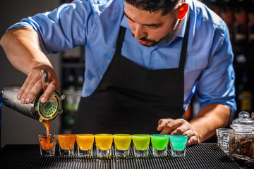 Colorful rainbow cocktails