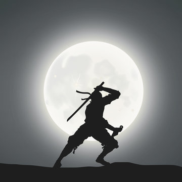 A Japanese Ninja Under The Moonlight