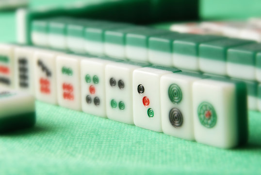 Chinese mahjong on a table