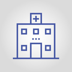 Clinic or hospital building isolated flat linear vector icon