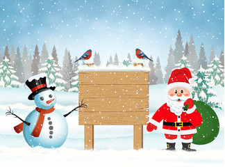 Santa Claus with gift bag and snowman