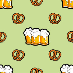 Vector seamless pattern with mugs of beer and brezels.