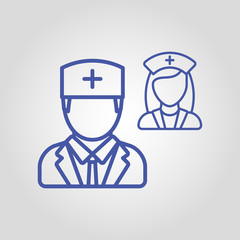 Doctor vector icon. Medical worker concept. Doctors head silhouette for badge or document. Female and male doctor icon.
