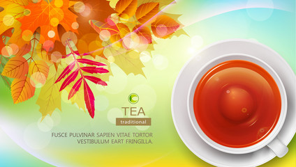 Vector mug of black tea, against the background of autumn leaves. Element for the design of packaging, advertising, template