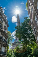 Eiffel tower in the summer time. View from beneath from the nearest street. 28/07/2017 Paris.France.