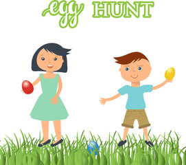 vector illustration of kids on  Easter egg hunt. Cute boy and girl with eggs in their hands.