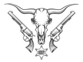 Bull skull with revolvers drawn in engraving style