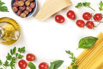 Italian food products on white with copy space