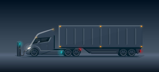 Modern Futuristic Dark Electric Semi Truck with Trailer Charging at Charger Station
