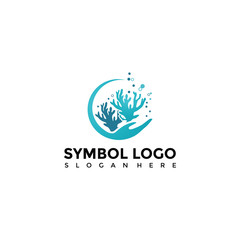 Sea and coral Logo Template. Vector Illustrator Eps. 10