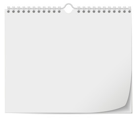 White wall calendar template with spring
